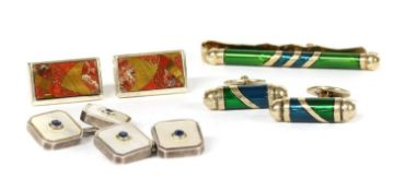 A collection of gentlemen's silver and costume jewellery,