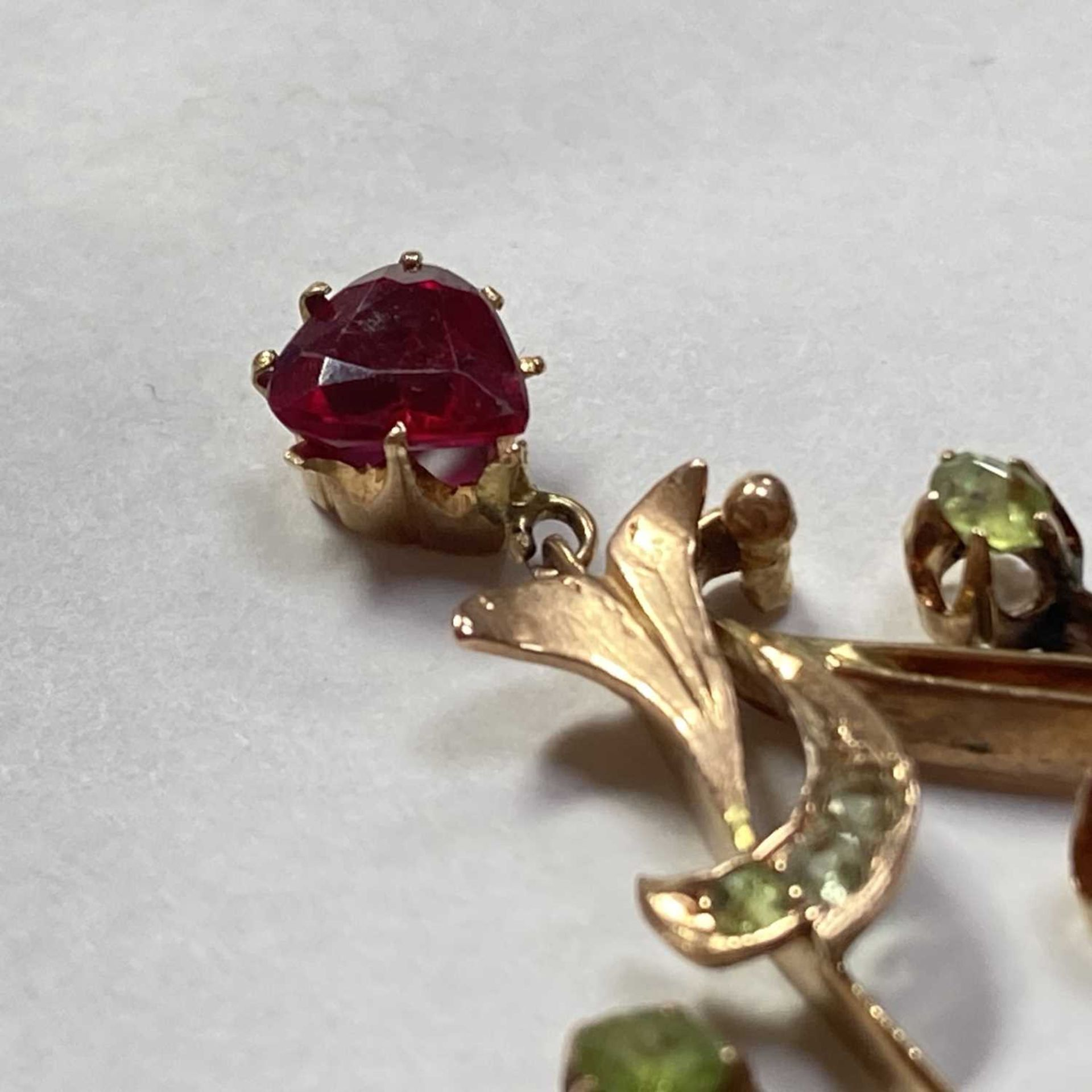 A Russian gold demantoid garnet and synthetic ruby pendant, - Image 2 of 5