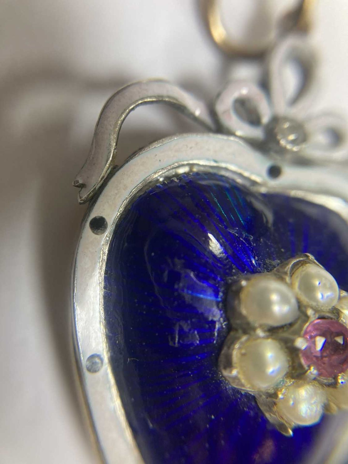 A gold and silver, ruby, split pearl, diamond and enamel heart pendant, - Image 7 of 9