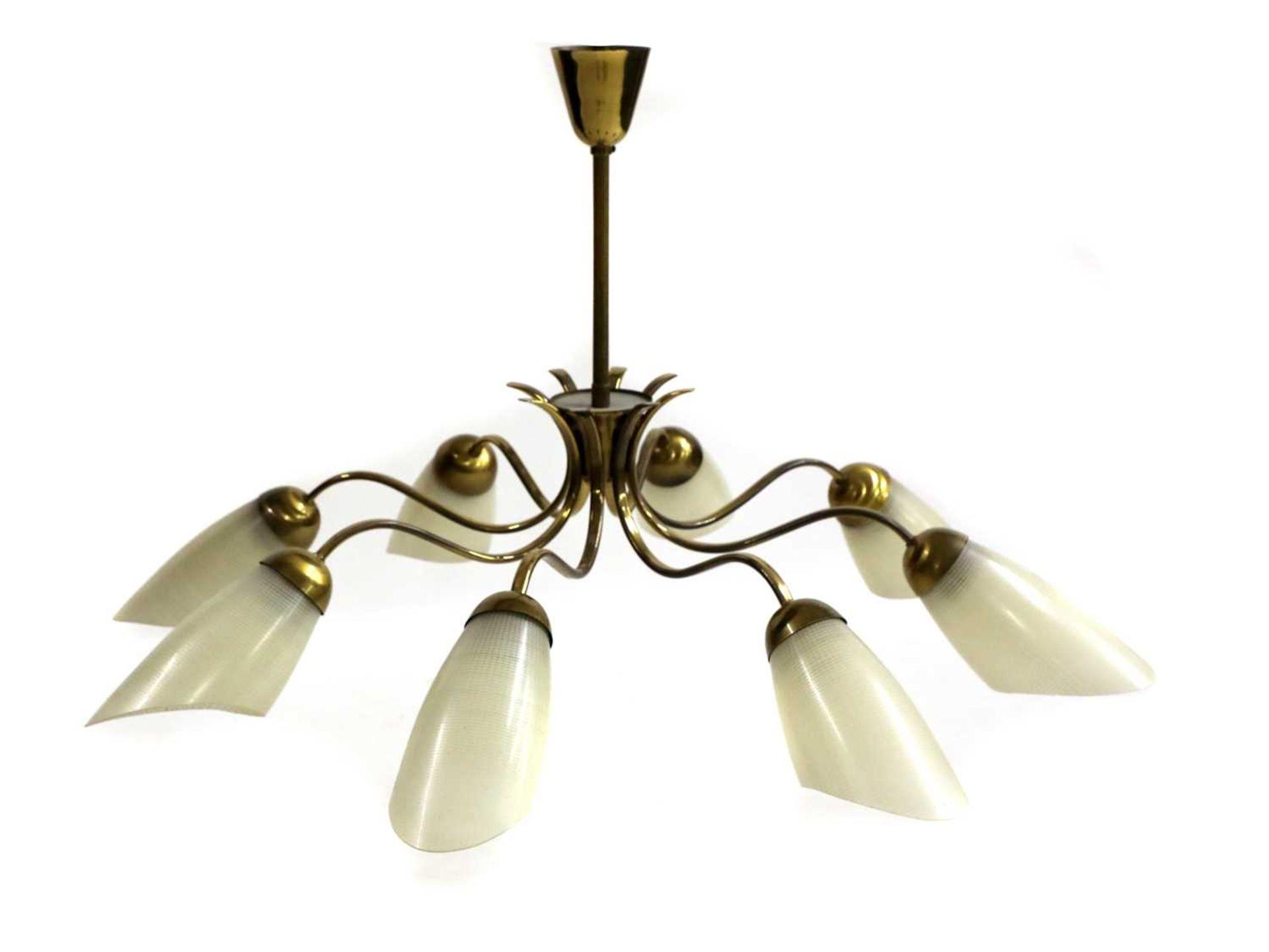 An Italian brass and glass chandelier,