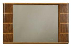 An Art Deco maple and walnut wall mirror,