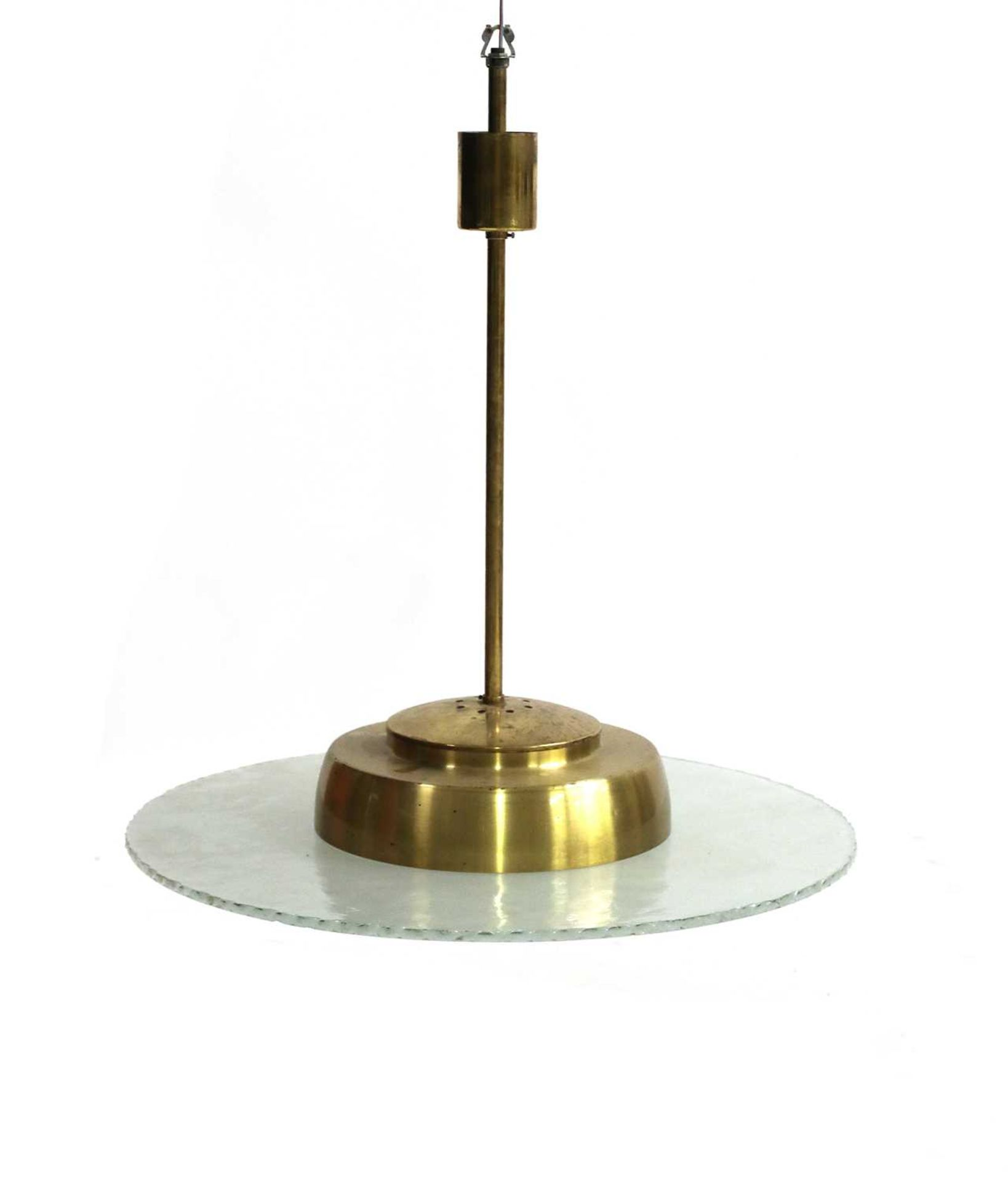 A Swedish modernist cut-glass disk and brass ceiling lamp,