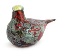 An Iittala glass 'Rubiinilintu' bird,