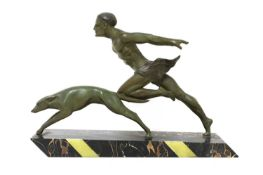 An Art Deco spelter and marble centrepiece,
