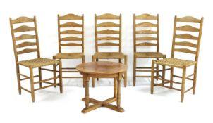 Five ash ladderback chairs,