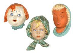 Three Keramos terracotta wall masks,