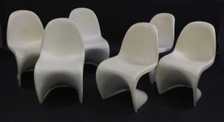 Six Verner Panton-style stacking chairs,
