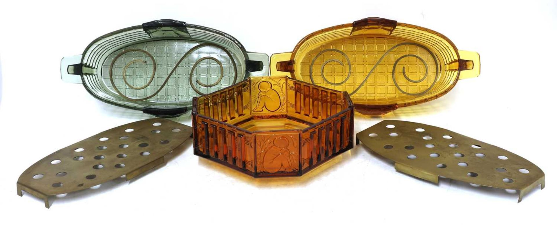 Two Val St Lambert 'Luxal' amber and green glass plate warmers or centrepieces, - Image 4 of 5