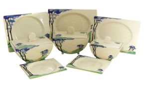A Clarice Cliff 'Blue Firs' Biarritz dinner service,