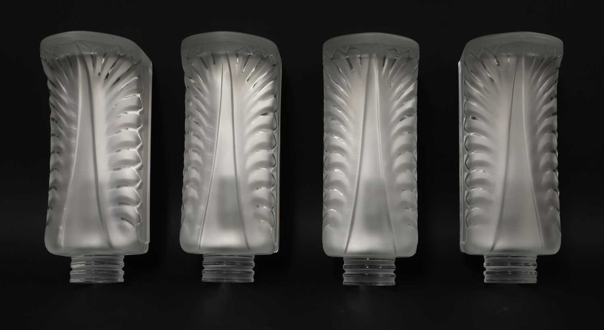 A set of four Lalique 'Palme' glass wall lights,