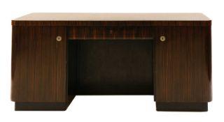 An Art Deco Madagascan ebony desk,