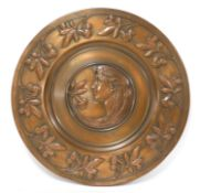A WMF embossed copper plaque,