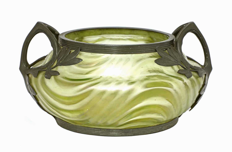 An Art Nouveau Kralik iridescent moulded glass bowl,