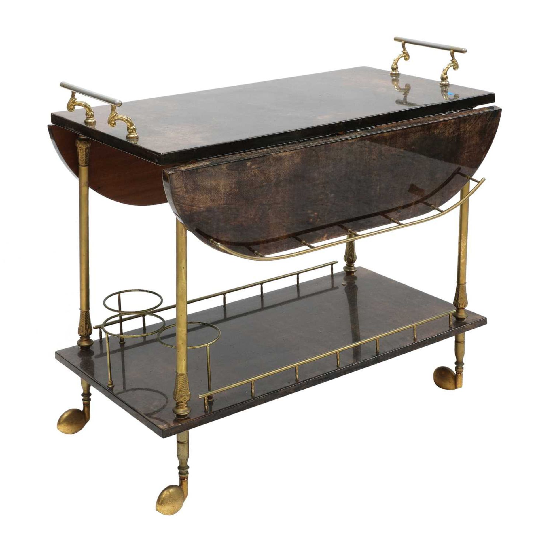 An Aldo Tura two-tier vellum drinks trolley, - Image 4 of 4