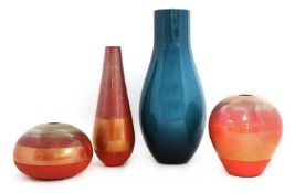 Three Venini red glass vases,