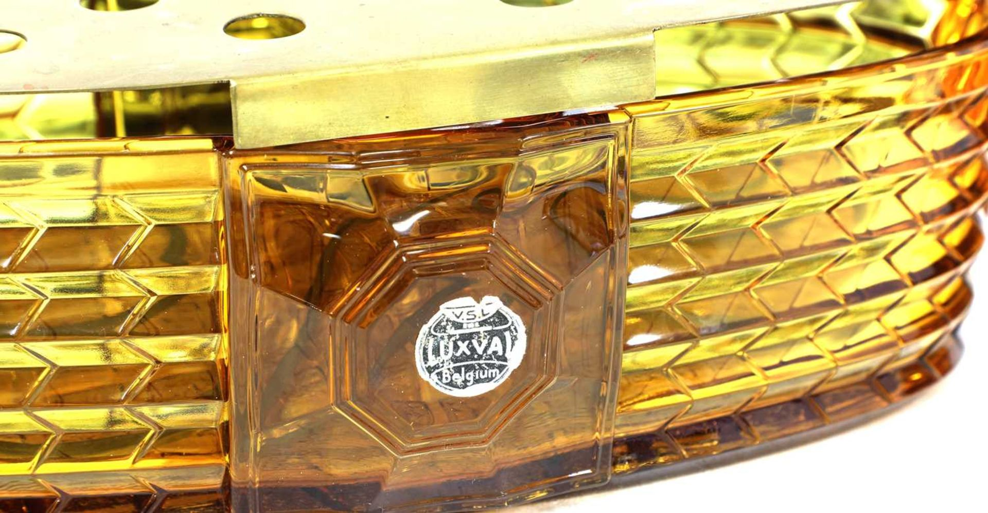 Two Val St Lambert 'Luxal' amber and green glass plate warmers or centrepieces, - Image 3 of 5
