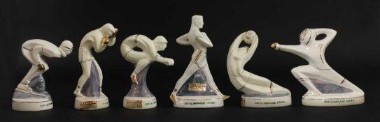 A set of six Rome XVII Olympiad (summer 1960) figural souvenir bottles,