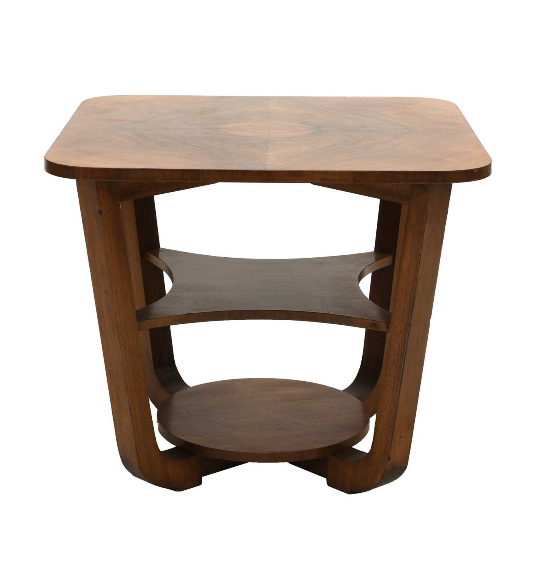 An Art Deco walnut table, - Image 2 of 3