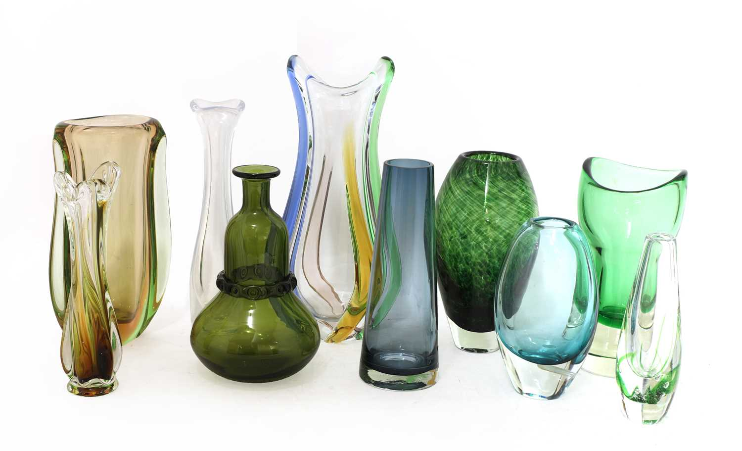 A collection of ten Scandinavian and Murano glass vases,