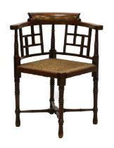 A walnut corner chair,