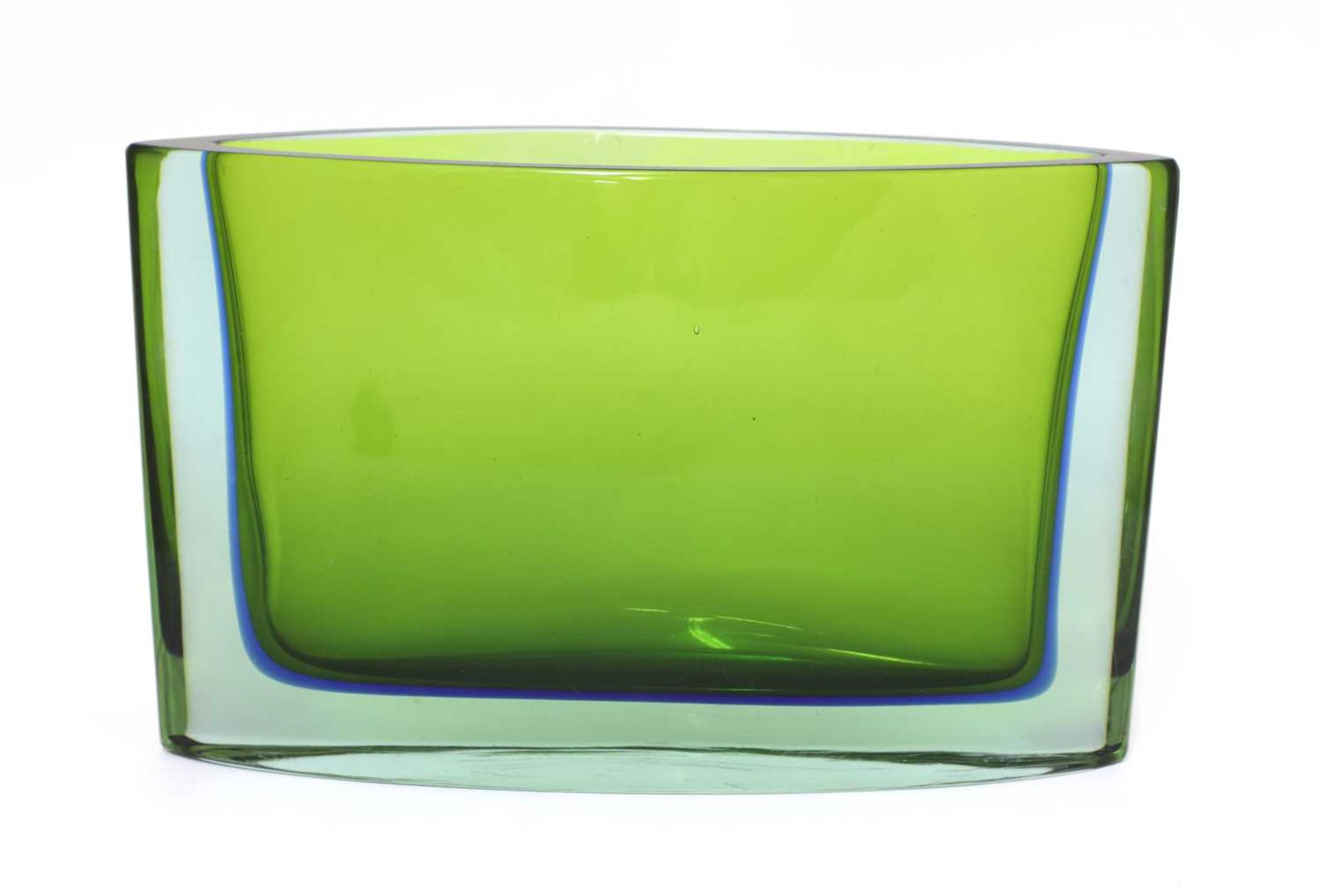 A Seguso Sommerso green and blue glass vase,