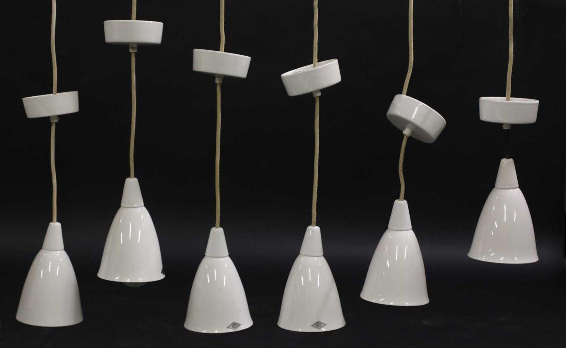 A set of six 'Model 193N' BTC Original hanging pendant lights,