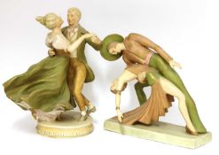 Two Royal Dux pottery figures,