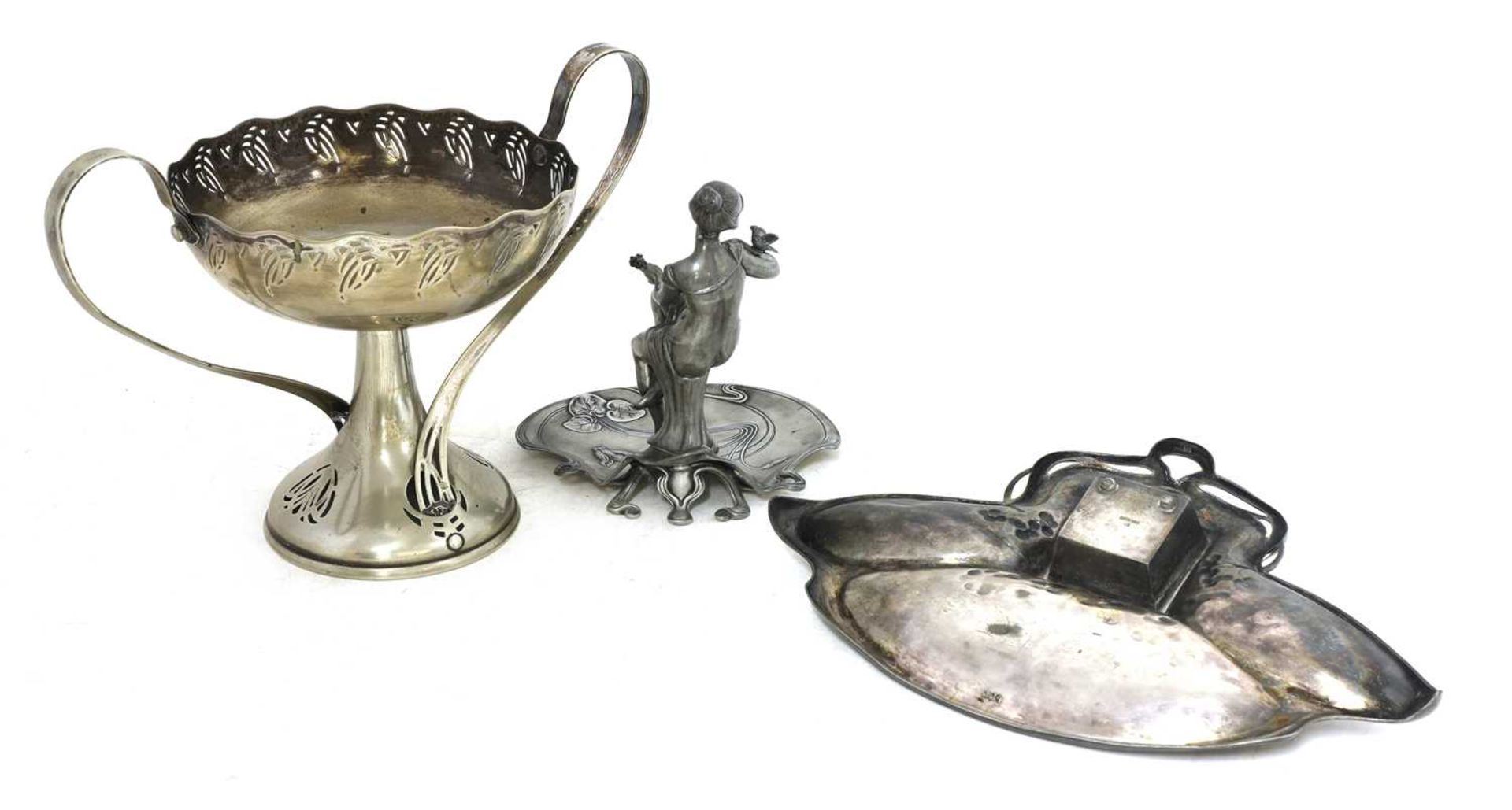 Three Art Nouveau metalware items, - Image 4 of 4
