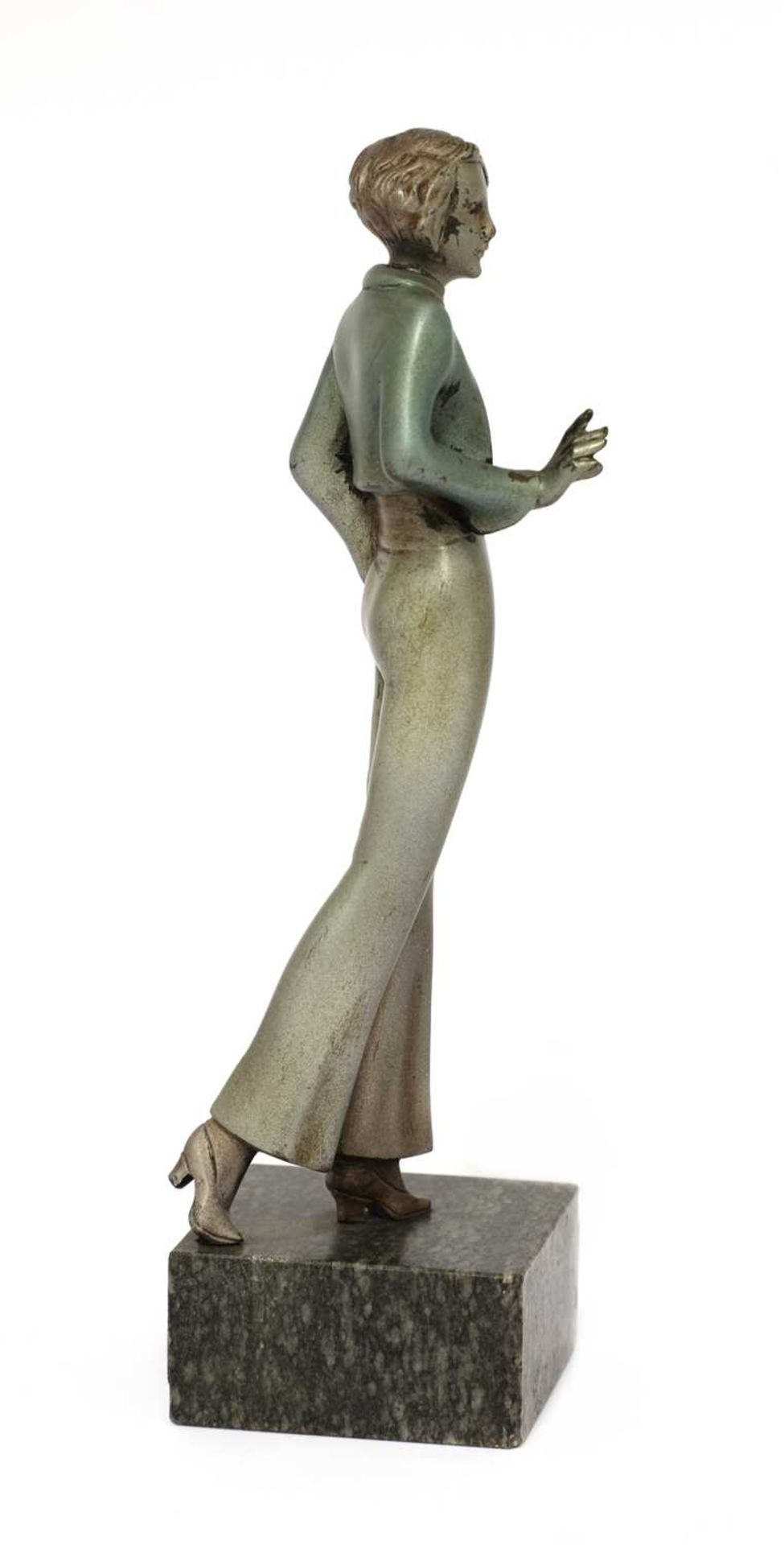 An Art Deco cold-painted bronze figure of a lady, - Image 2 of 8