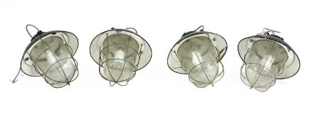 Four Industrial pendant lights,