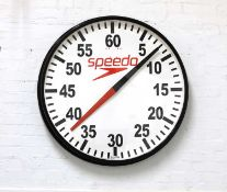 A Speedo pace wall clock,