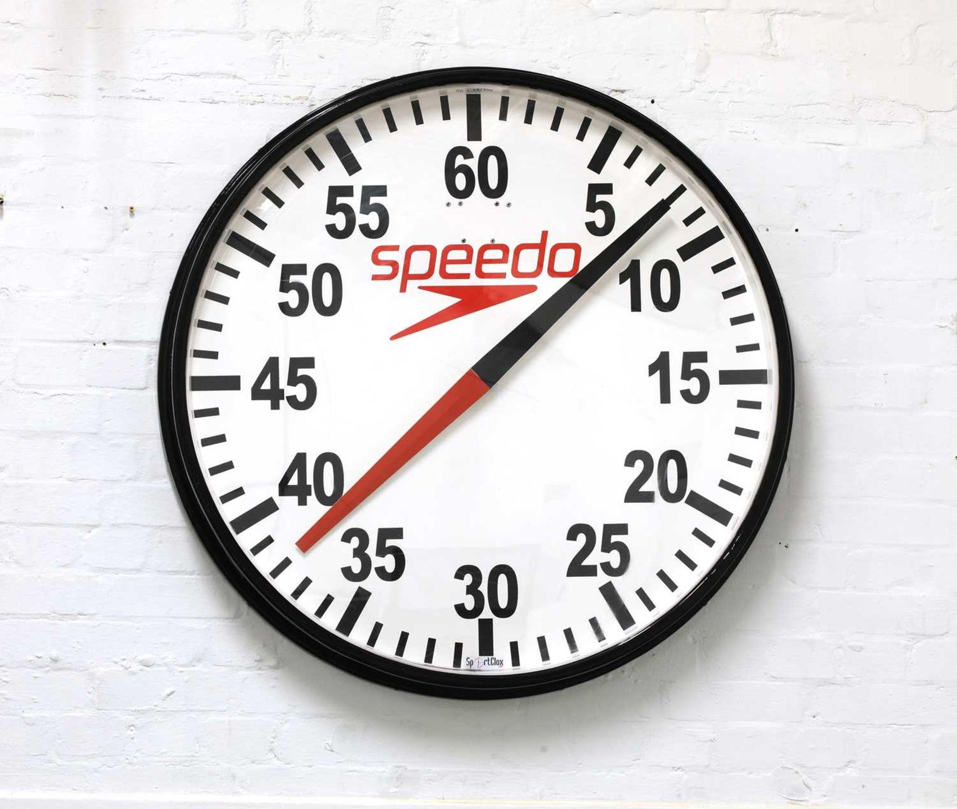 A Speedo pace wall clock,