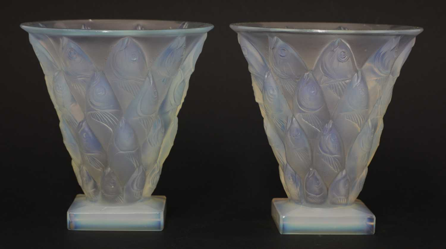 A pair of Sabino opalescent glass vases,