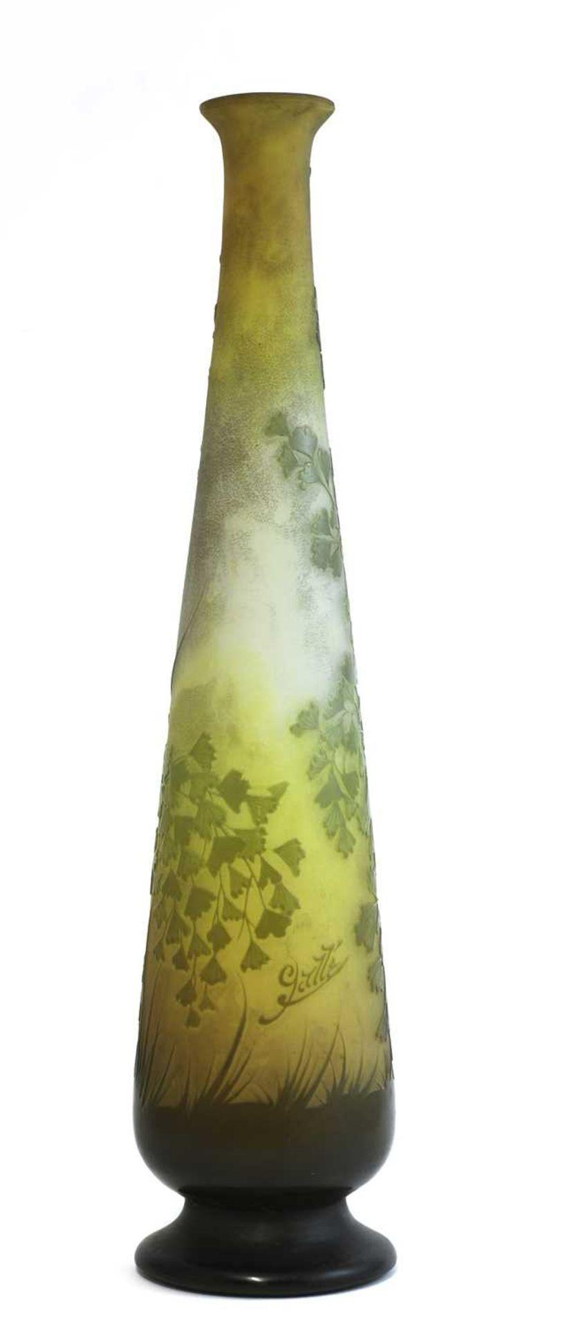 A Gallé floral cameo glass vase,