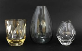 A Daum amber-tinted glass vase,