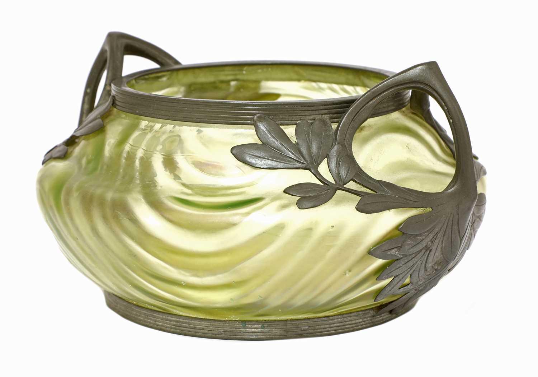 An Art Nouveau Kralik iridescent moulded glass bowl, - Image 2 of 3