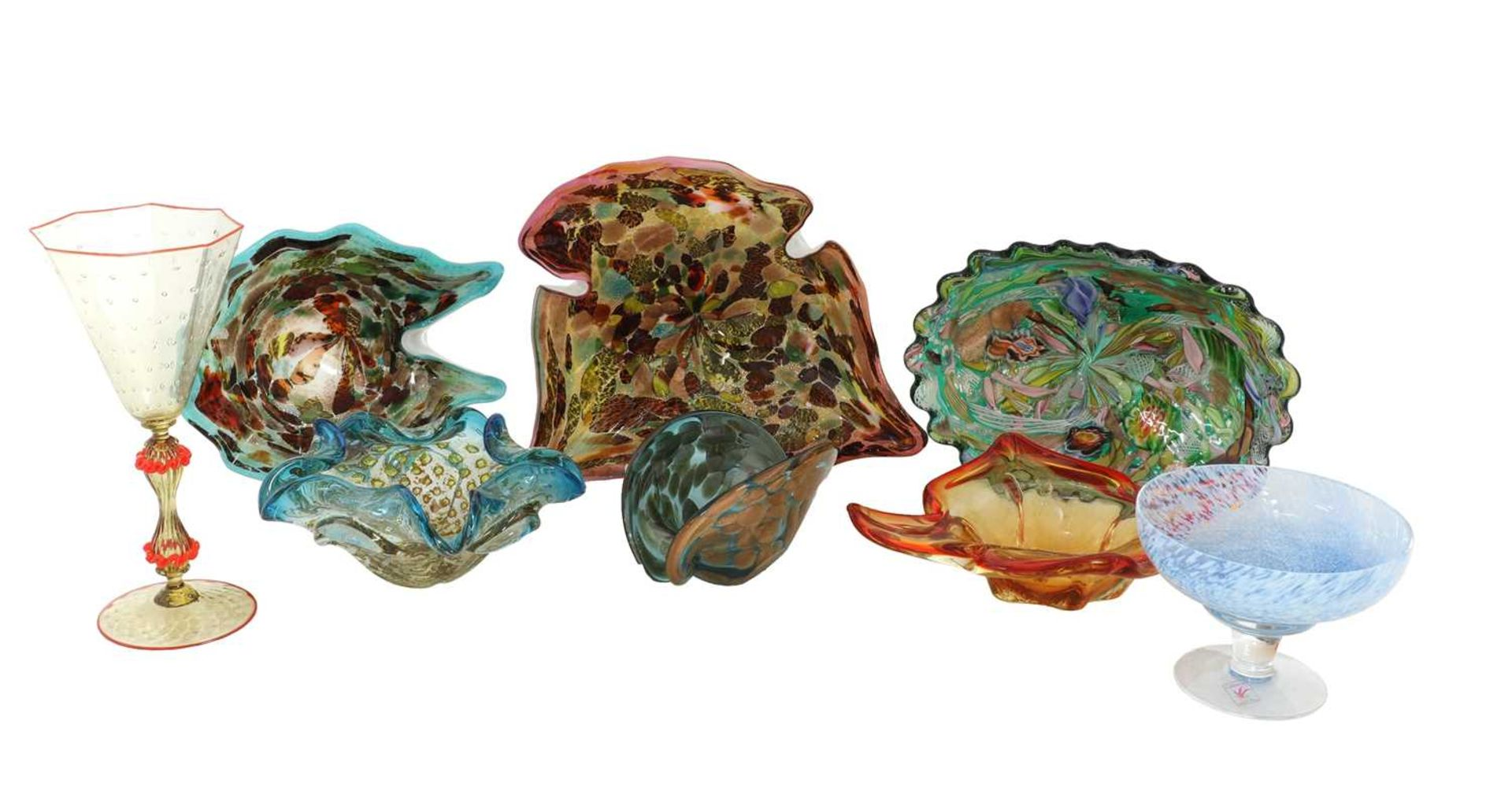 A collection of thirty coloured glass vases and bowls, - Image 3 of 12