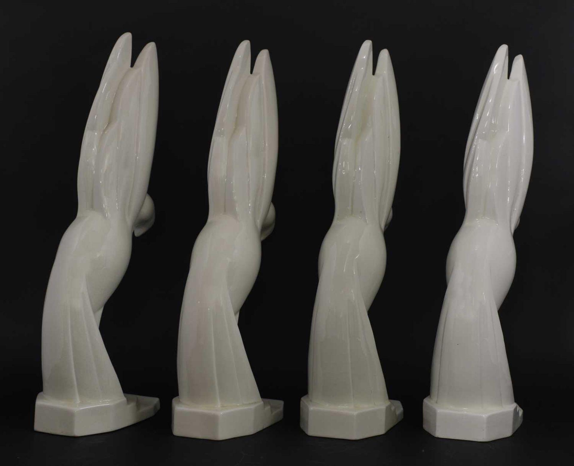 Four Art Deco moulded white glazed doves, - Image 2 of 12
