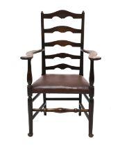 An ash ladder back armchair,
