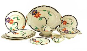 An extensive Art Deco Royal Venton ware pottery dinner service,