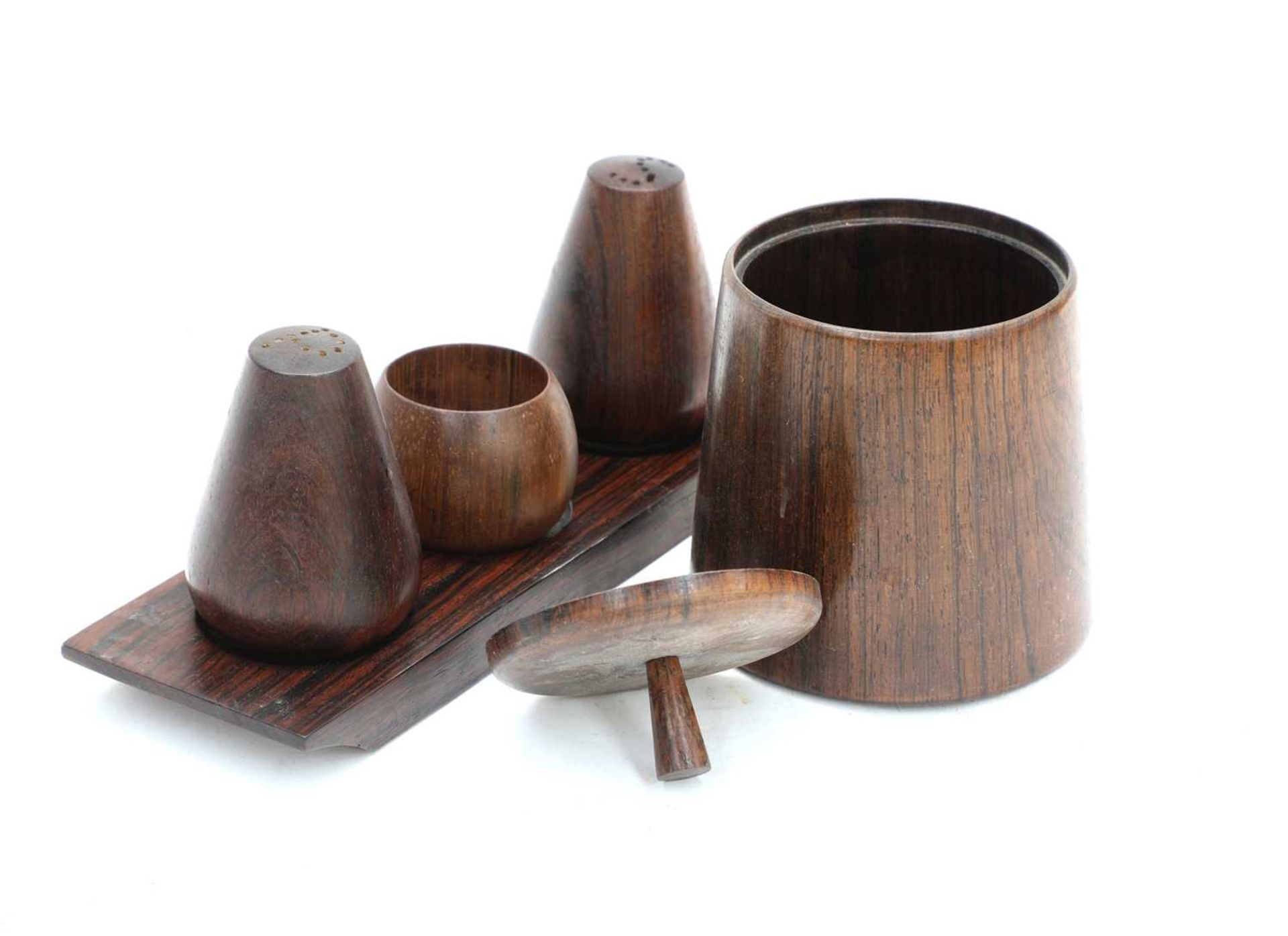 A jacaranda wood condiment set, - Image 2 of 2
