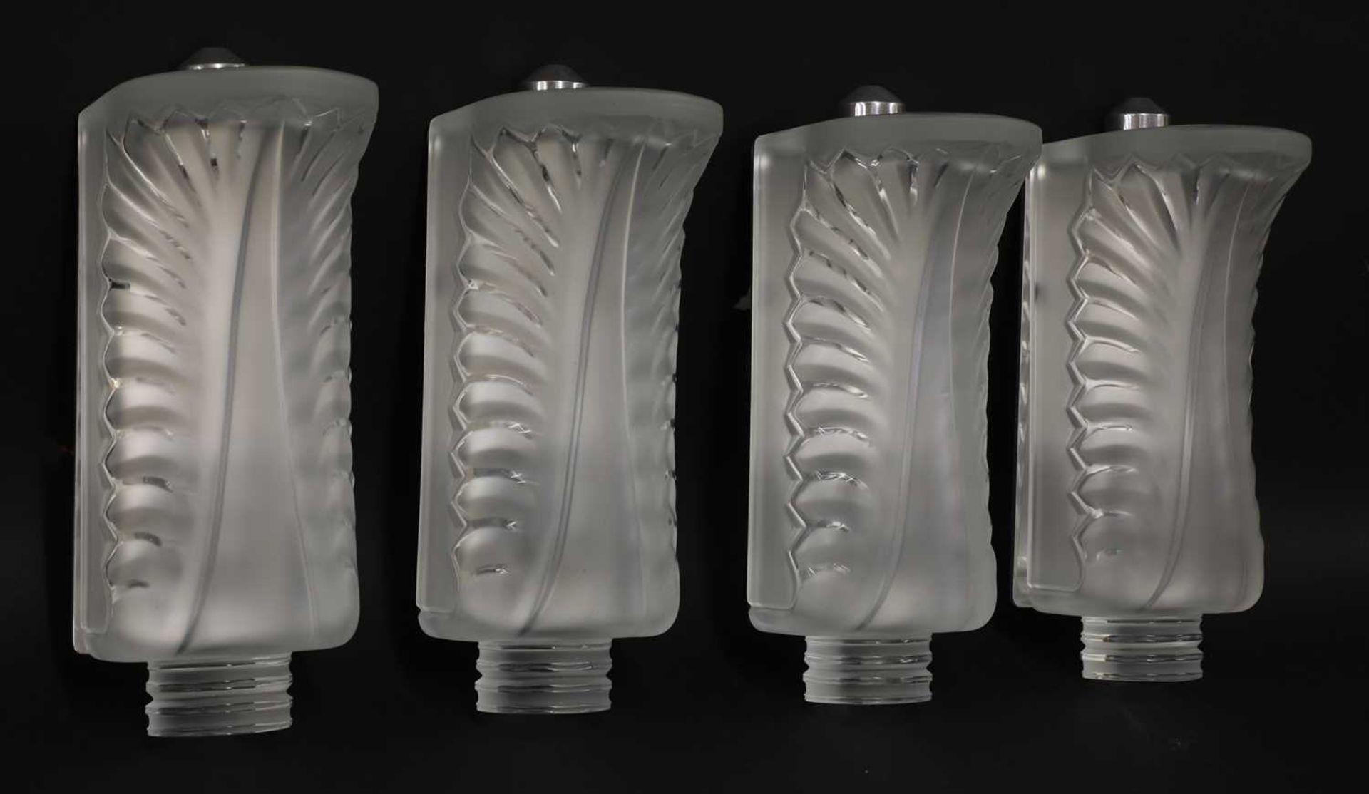 A set of four Lalique 'Palme' glass wall lights, - Image 2 of 5
