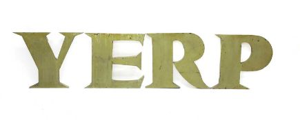 Four painted tin green letters,