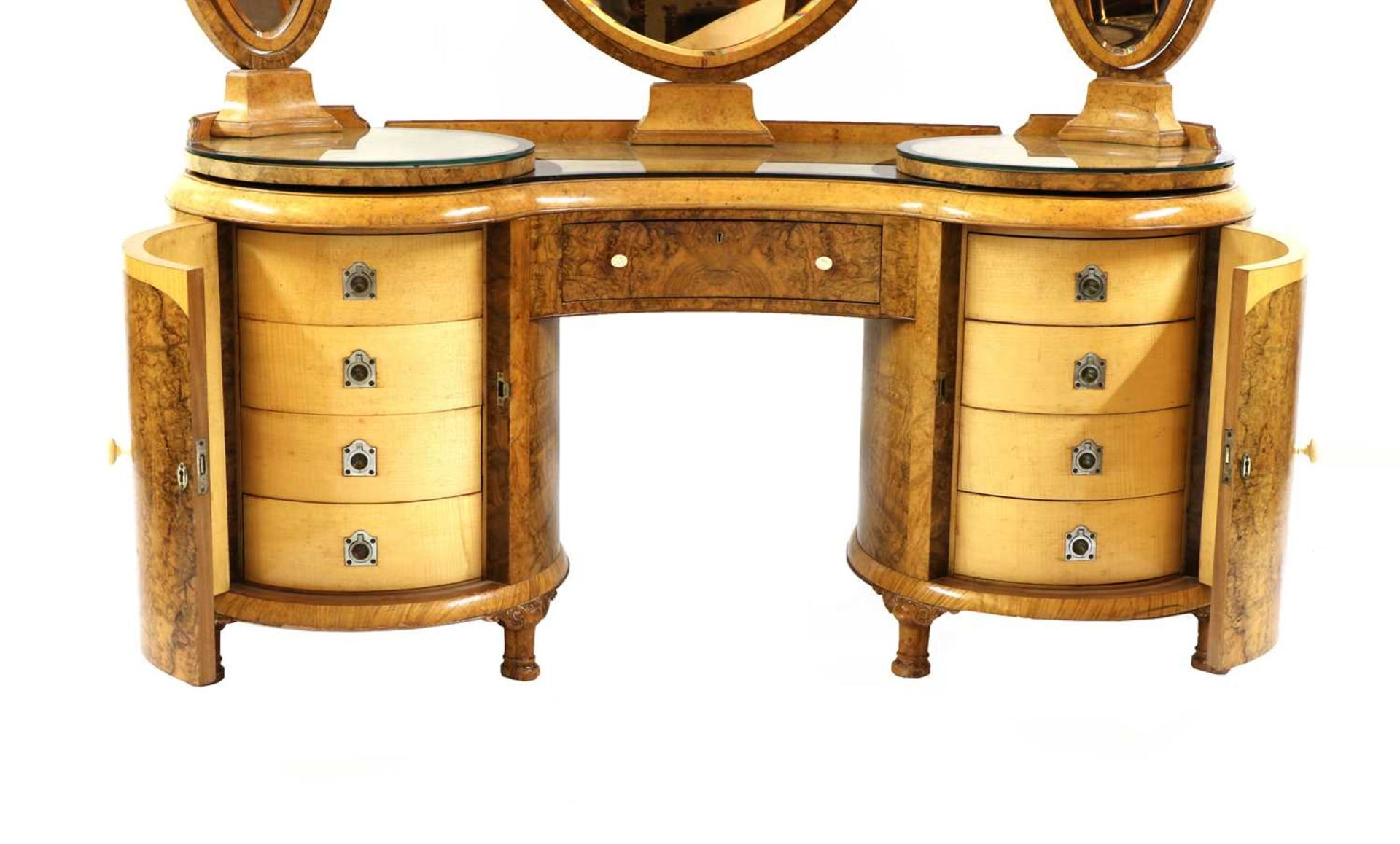 An Art Deco burr walnut and maple bedroom suite, - Image 20 of 45