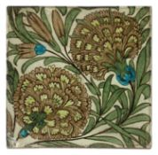 A William De Morgan 'Persian Flowers' pattern tile,