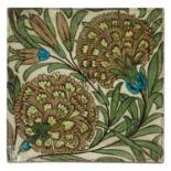 A William De Morgan 'Persian Flowers' pattern tile,