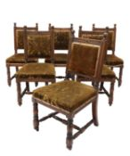 Six walnut dining chairs,