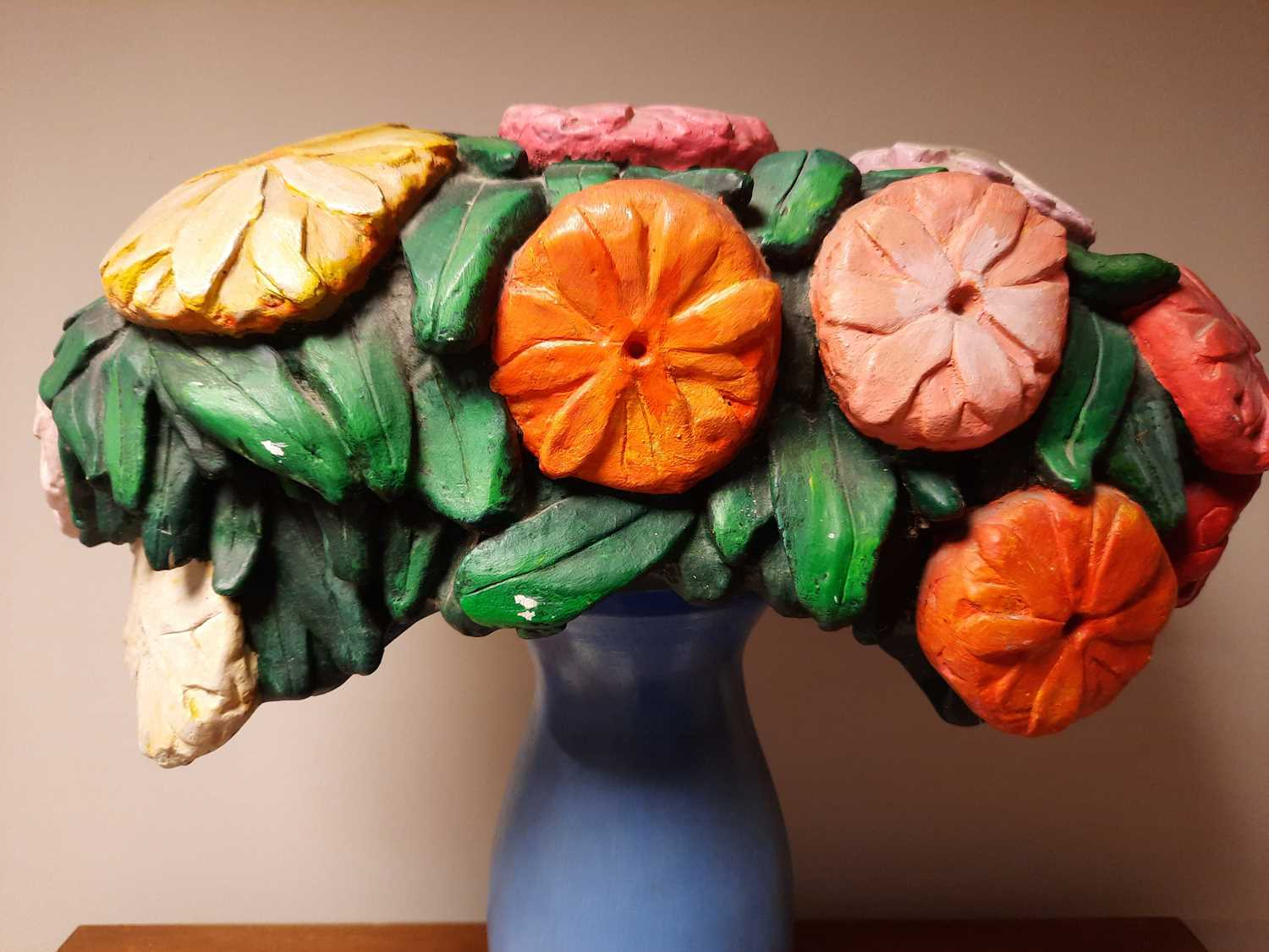 A carved and painted still life of flowers, - Image 4 of 4