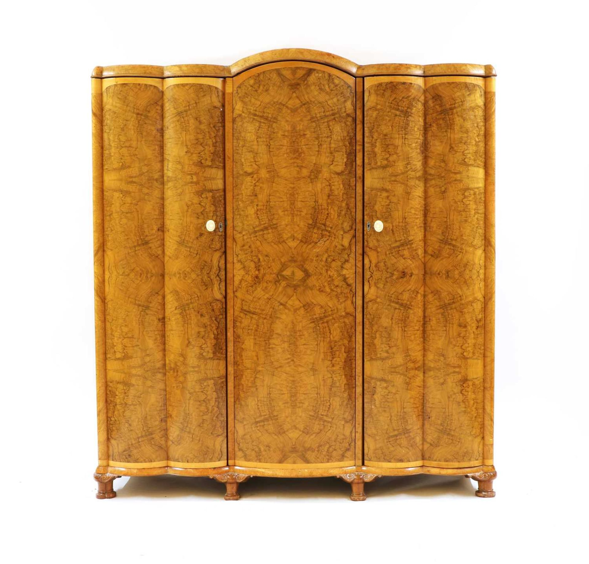 An Art Deco burr walnut and maple bedroom suite, - Image 4 of 45