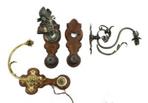 Three Aesthetic period brass wall lights,